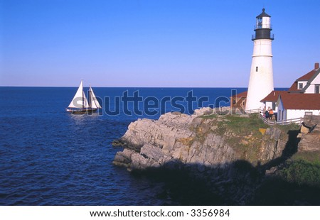 historic portland head lighthouse maine - stock photo