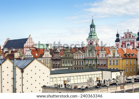Historic Poznan City buildings located on a main square - stock photo