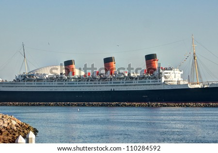 Historic Queen Mary Ship at Long Beach Harbor