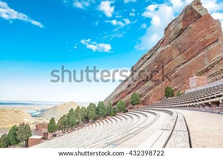 Historic Red Rocks Amphitheater near Denver, Colorado - stock photo