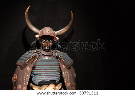 historic samurai armor on black - stock photo