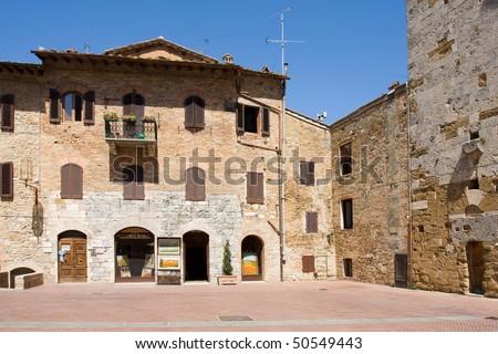 historic san gimignano - stock photo