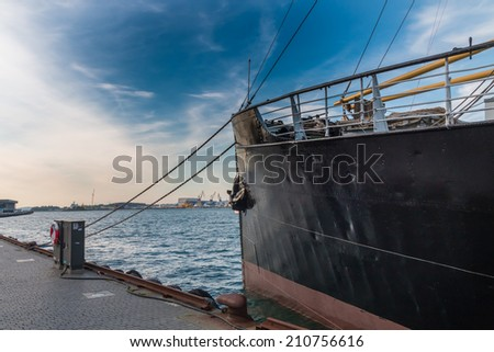 Historic ship in the port of Stavanger, Norway - stock photo