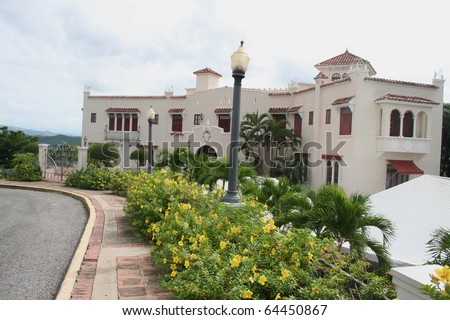 Historic Spanish Revival Mansion at Ponce Puerto Rico - stock photo