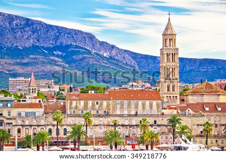 Historic Split architecture waterfront view, Dalmatia, Croatia - stock photo