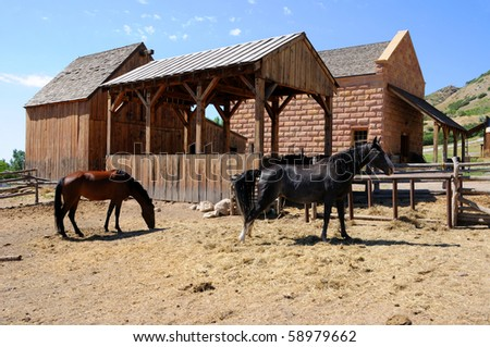 Historic Stable at This is the Place Monument in Utah - stock photo