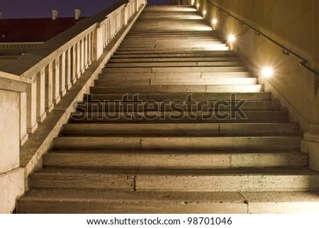 Historic staircase illuminated at night, Munich, Germany - stock photo