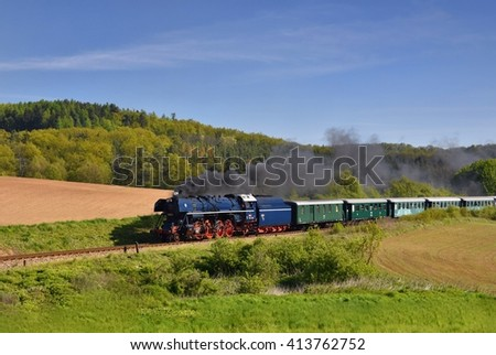 Historic steam train. Specially launched Czech old steam train trips and for traveling around the Czech Republic. - stock photo