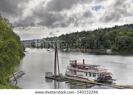 Historic Sternwheeler Docked Along Willamette River in Oregon City - stock photo