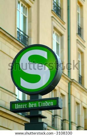 historic subway sign 'Unter den Linden' in Berlin, shallow DOF - stock photo