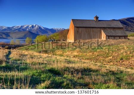 Historic Tate Barn at Sunrise - Heber - Utah - stock photo