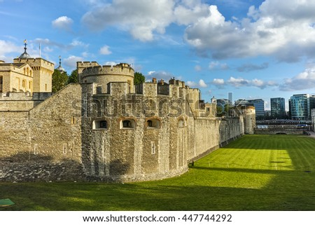Historic Tower of London, England, Great Britain - stock photo
