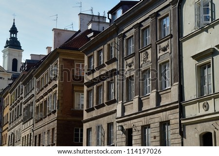 Historic town houses in the Old Town of Warsaw