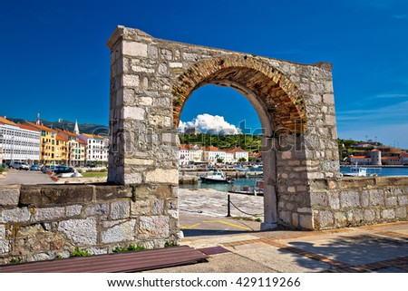 Historic town of Senj arch gate and waterfront view, Primorje, Croatia - stock photo