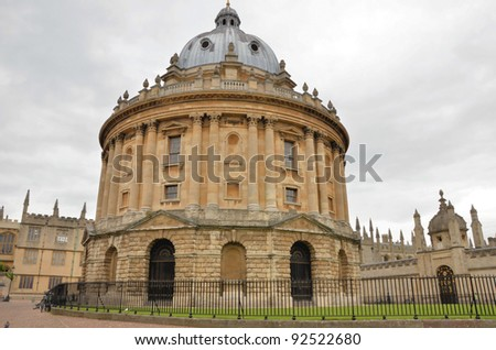 Historic University Building in Oxford on a Cloudy Day - stock photo