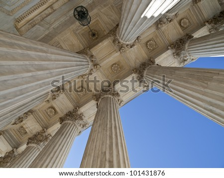 Historic US supreme court building columns in Washington DC. - stock photo
