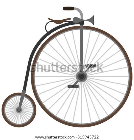Historic vehicle. Old bicycle. The illustration on a white background.