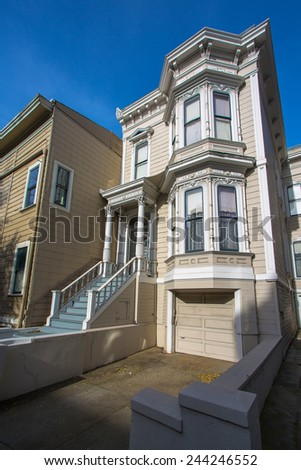 Historic victorian house in San Francisco - stock photo
