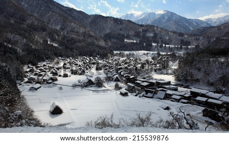 Historic Villages of Shirakawa-go and Gokayama, overlooking, Japan - stock photo