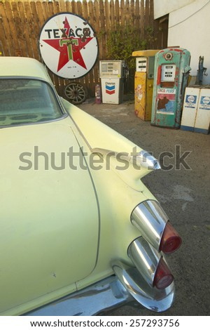 Historic vintage roadside motel on old Route 66 welcomes old cars and guests in Barstow California - stock photo