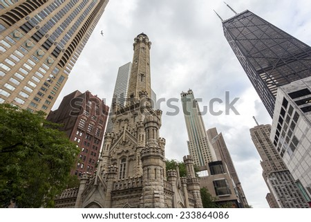 Historic water towers in Chicago, Illinois, USA - stock photo