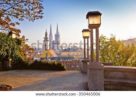 Historic Zagreb towers sunrise view, capital of Croatia - stock photo