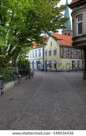 Historical Altstadt in Oldenburg, Lower Saxony. - stock photo