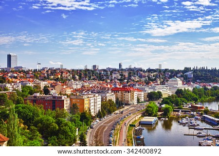 Historical and ordinary views of Prague, architectural, street, people, life of the Czech capital. Czech Republic. - stock photo