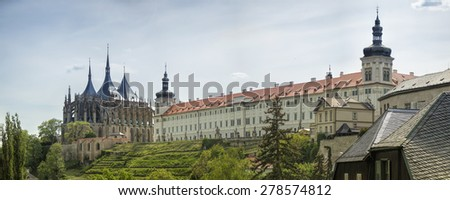 Historical architecture panorama, city of Kutna Hora, Prague. Famous travel location near Prague. - stock photo