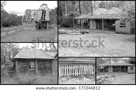 Historical black and white montage of run down early pioneer settlers homestead in Australia - stock photo