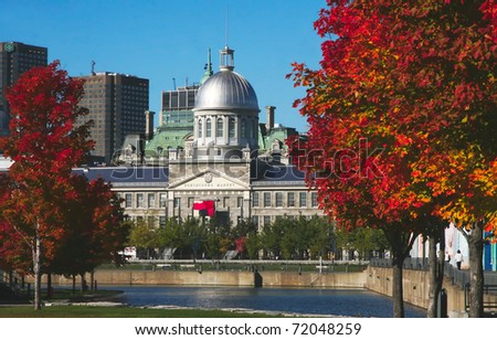 Historical Bonsecours Market located in old Montreal - stock photo