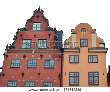 Historical buildings in Gamle Stan, Stockholm's old town - stock photo
