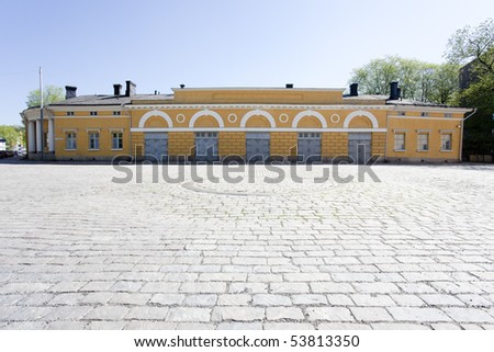 Historical buildings in old town, western Finland. - stock photo