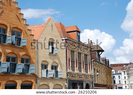 Historical Buildings in the city of Lille. In the nord of France. Lille was cultural capital of Europe in 2004.