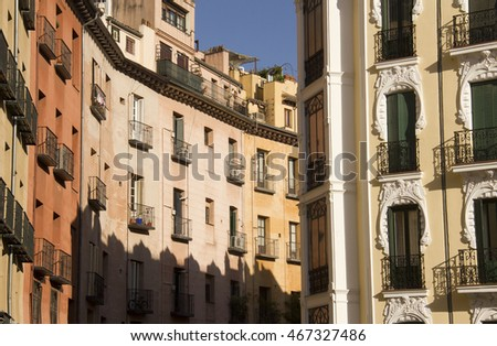 Historical buildings in the oldest part of Madrid off Plaza Mayor in Madrid, Spain