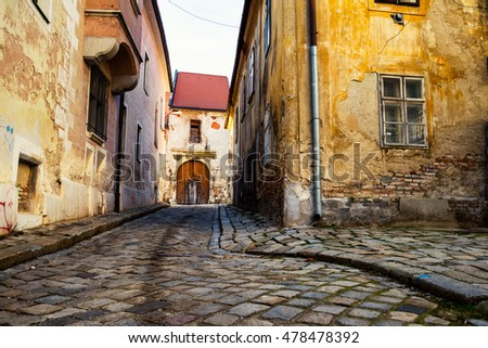 Historical buildings in the streets of Bratislava, Slovakia. City center during the day.