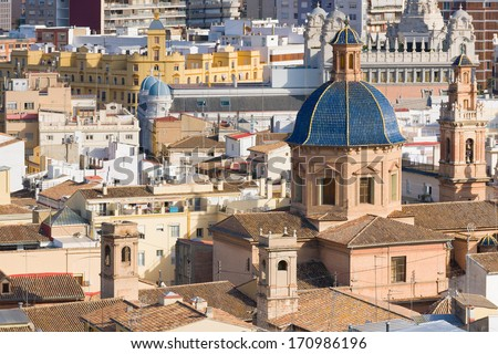 Historical buildings in Valencia in a summer day - stock photo