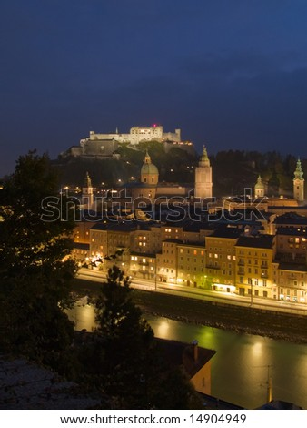 Historical center and castle of Salzburg at night