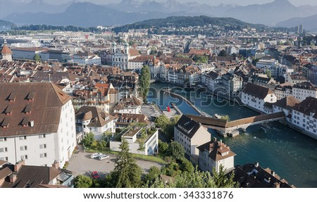 Historical center Lucerne Switzerland - stock photo