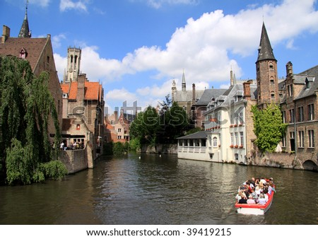 historical center of bruges - stock photo
