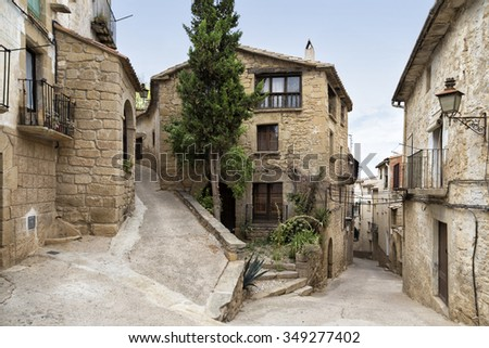 Historical center of Calaceite, Spain - stock photo