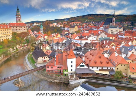 Historical center of Cesky Krumlov with medieval castle and old buildings along Vltava river, Czech Republic - stock photo