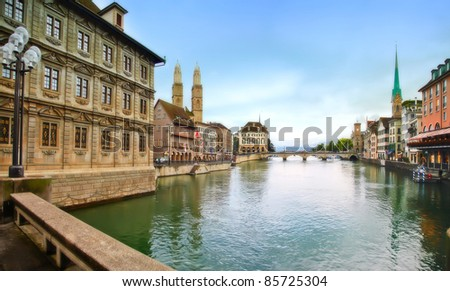 historical center of evening Zurich - stock photo