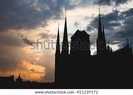 Historical center of Gdansk, town hall silhuette at sunset - stock photo