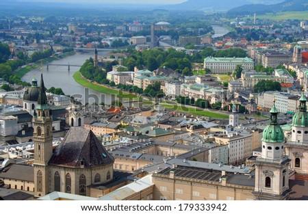 Historical center of Salzburg, Austria - stock photo