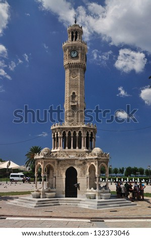 Historical Clock Tower of Izmir, Turkey. It was built in 1901, at Konak Square and accepted as the symbol of Izmir City. - stock photo