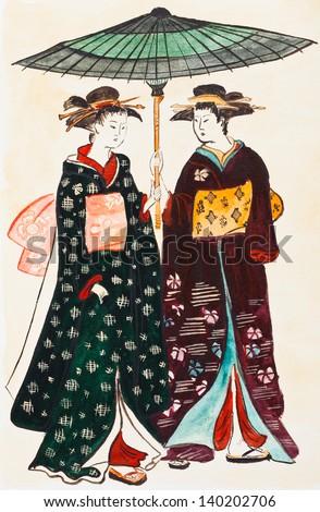 historical clothes - Japanese young women geishas in traditional clothes stylized under print of Torii Kiyonaga (Sekiguchi Shinsuke) 18th century - stock photo