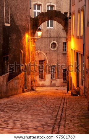 Historical cobblestone street in Ville Haute, Luxembourg city