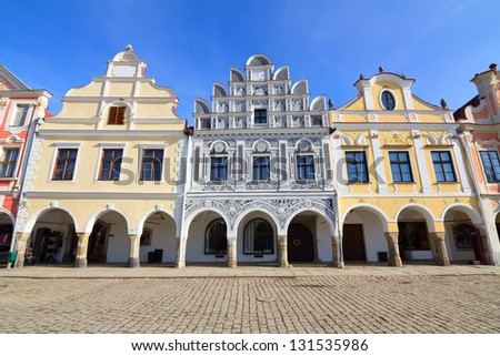Historical colorful houses in the town center of Telc in Czech Republic - stock photo