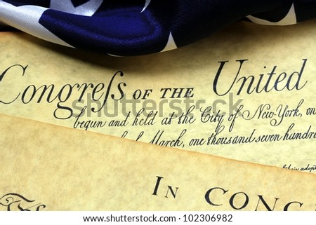 Historical Documents - United States Bill of Rights and American Flag - stock photo